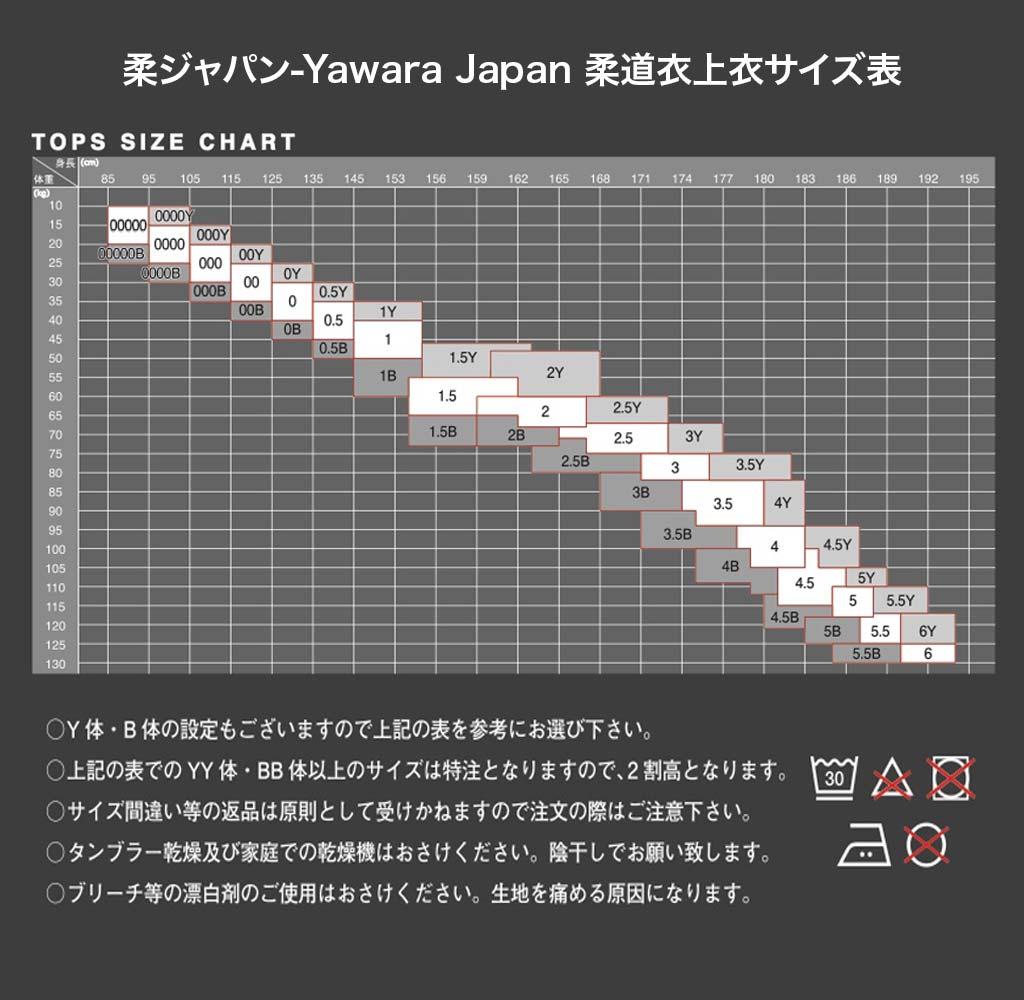 柔Japan柔道衣上衣サイズ表