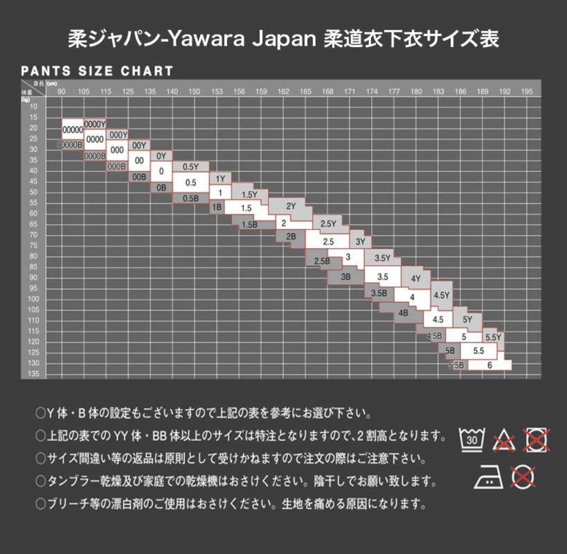 柔ジャパン 柔道衣下衣サイズ表