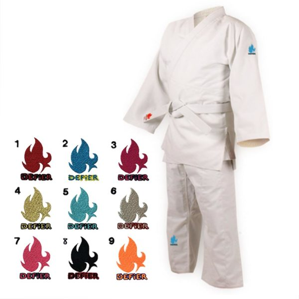 Defier柔道衣 Bleu 上下衣セット白帯付き ファイアーロゴ色見本