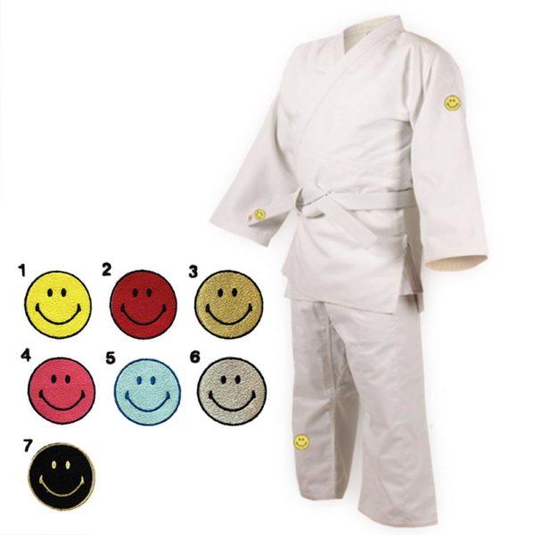 Defier柔道衣 Bleu 上下衣セット白帯付き スマイリーロゴ色見本