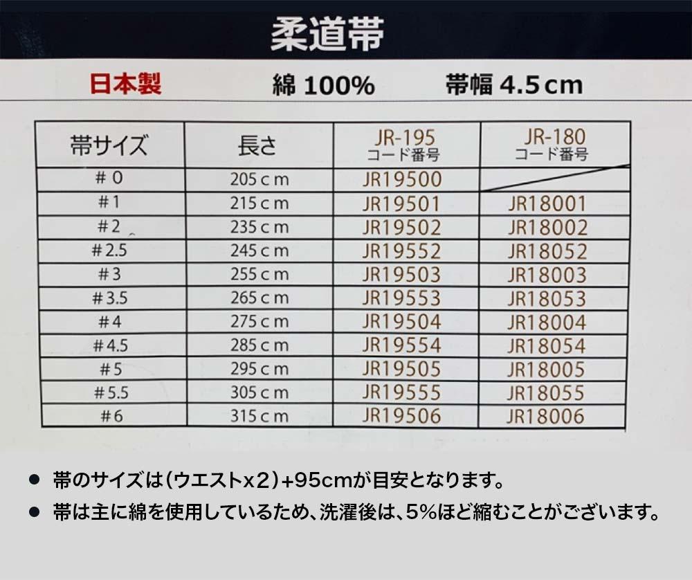 ミツボシ帯サイズ表