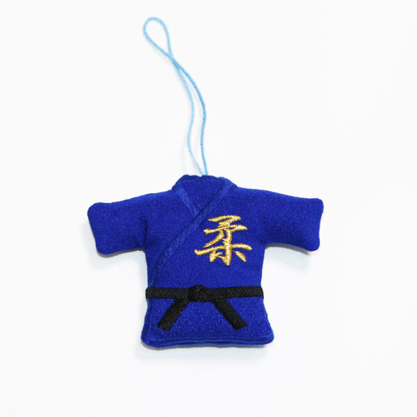 ミニ柔道衣ストラップ青